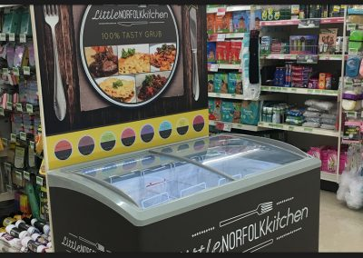 Bespoke point of sale display, printed vinyl wrap around with display board for Little Norfolk Kitchen