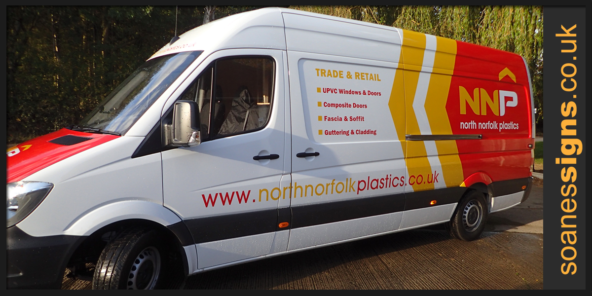 Coloured vinyl partial wrap to the rear panels, back doors and bonnet of North Norfolk Plastics with supporting vinyl graphics