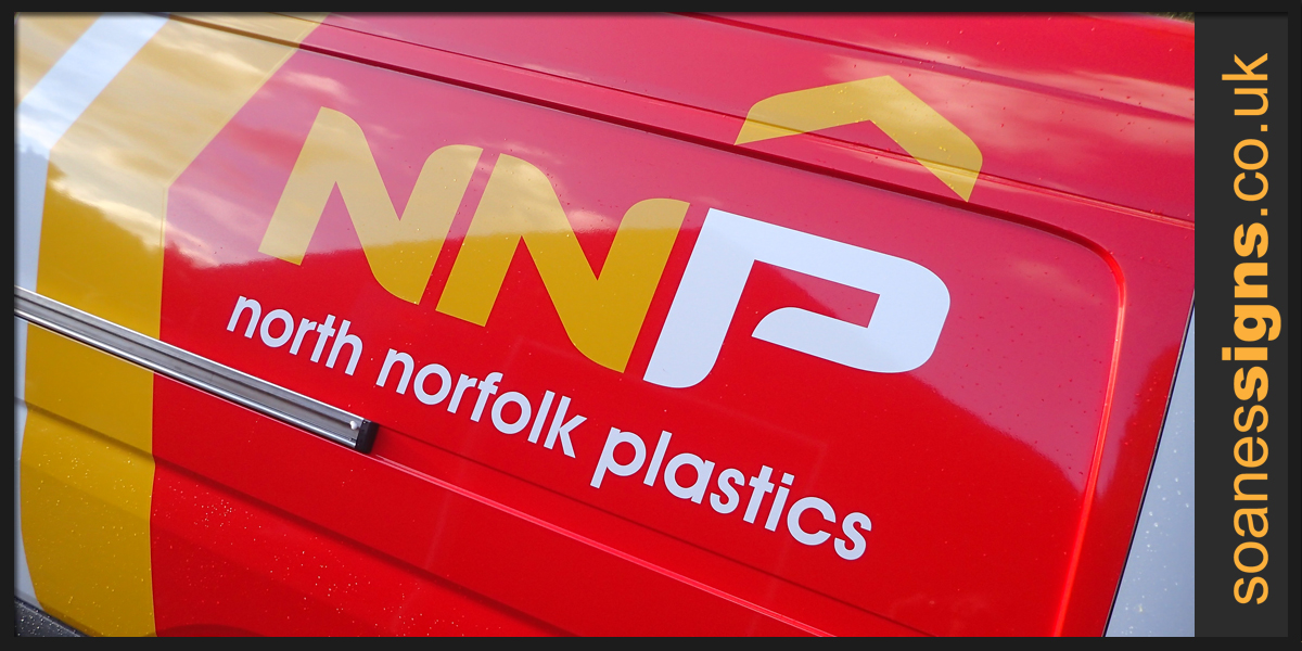 Detail of coloured vinyl partial wrap to the rear panels, back doors and bonnet of North Norfolk Plastics with supporting vinyl graphics