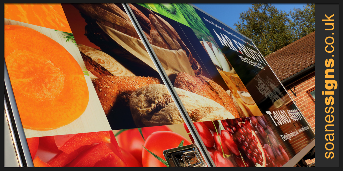Details of full vinyl print applied to the box sides of Mr Fruity Iveco Truck with supporting vinyl brand graphics