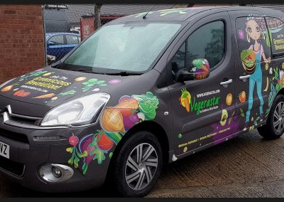 Full printed vinyl wrap applied to Citroen Berlingo van, complete bodywork colour change for The Vegerasta