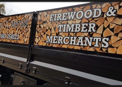 Printed and cut vinyl graphics applied the drop side panels to of GT Morrison's truck