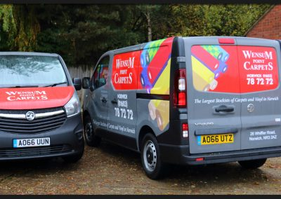 Vinyl print and wrap to the rear panels and back doors of Wensum Carpets Vauxhall Vivaro with supporting vinyl brand graphics